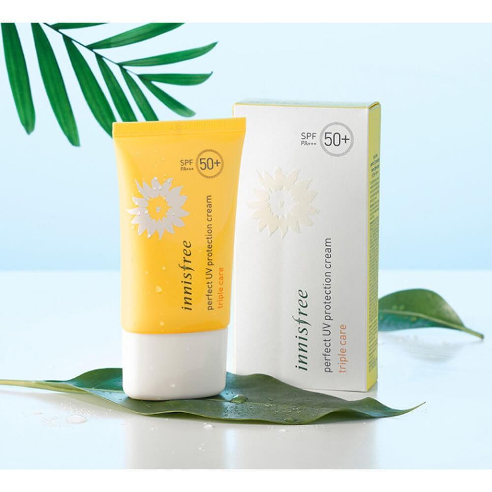 Hướng dẫn sử dụng hiệu quả kem chống nắng Innisfree Perfect UV Protection Cream Triple Care -  kem chống nắng innisfree - kem ch   ng n   ng H  n Qu   c Innisfree Perfect UV Protection Cream Triple Care bichkhoa
